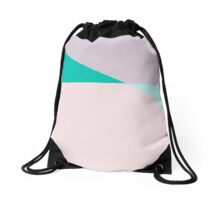 Pastel Triangle Pink Based Drawstring Bag