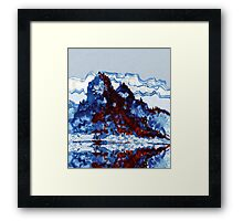 Chinese mountain lake and boat Framed Print