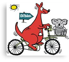 Cartoon showing big red kangaroo riding bicycle Canvas Print
