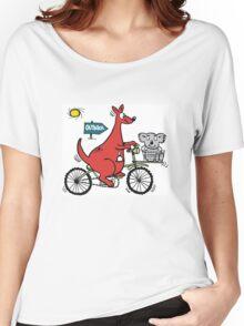 Cartoon showing big red kangaroo riding bicycle Women's Relaxed Fit T-Shirt
