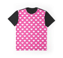 Pink White Heart Polka Dots Hearts Graphic T-Shirt