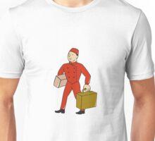Bellboy Bellhop Carry Luggage Cartoon Unisex T-Shirt