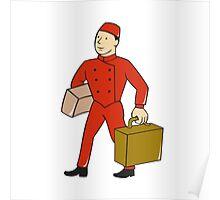 Bellboy Bellhop Carry Luggage Cartoon Poster