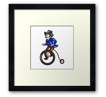 Gentleman Riding Penny-farthing Cartoon Framed Print