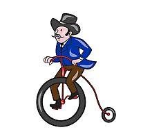 Gentleman Riding Penny-farthing Cartoon Photographic Print