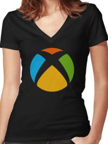 Xbox-Win design  Women's Fitted V-Neck T-Shirt