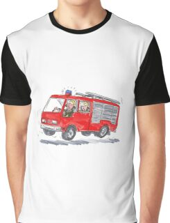 Red Fire Truck Fireman Caricature Graphic T-Shirt