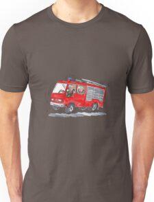 Red Fire Truck Fireman Caricature Unisex T-Shirt