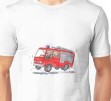 Red Fire Truck Fireman Caricature Unisex T-Shirt