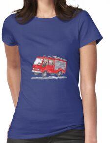 Red Fire Truck Fireman Caricature Womens Fitted T-Shirt