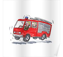 Red Fire Truck Fireman Caricature Poster