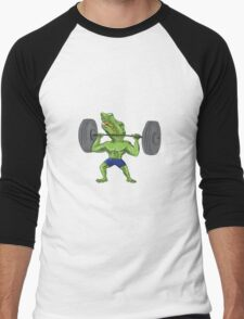 Sobek Weightlifter Lifting Barbell Caricature Men's Baseball ¾ T-Shirt