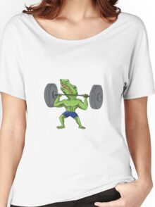 Sobek Weightlifter Lifting Barbell Caricature Women's Relaxed Fit T-Shirt