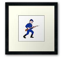 Union Army Soldier Bayonet Rifle Cartoon Framed Print