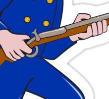 Union Army Soldier Bayonet Rifle Cartoon Sticker
