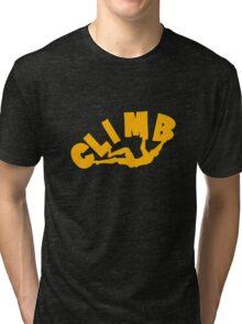 Climbing funny nerd geek geeky Tri-blend T-Shirt