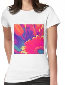 Bright Pink Abstract Flowers Womens Fitted T-Shirt
