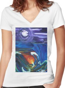tale of two worlds Women's Fitted V-Neck T-Shirt