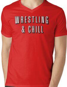 Wrestling & Chill Mens V-Neck T-Shirt