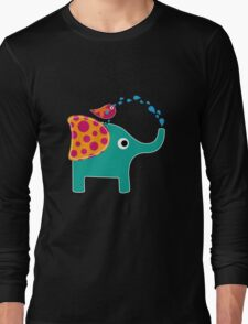 Cute Elephant and Bird funny nerd geek geeky T-Shirt
