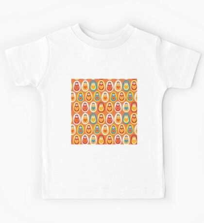 Russian dolls matryoshka orange blue red yellow Kids Tee