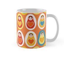 Russian dolls matryoshka orange blue red yellow Mug