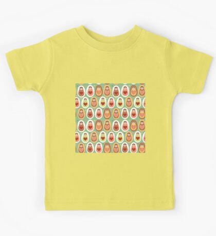 Russian dolls matryoshka mint pink brown. Kids Tee