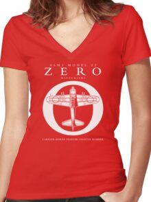 Mitsubishi Zero! Banzai! Women's Fitted V-Neck T-Shirt