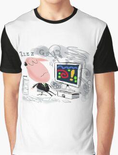 Cartoon of business man asleep at computer Graphic T-Shirt