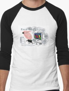 Cartoon of business man asleep at computer Men's Baseball ¾ T-Shirt