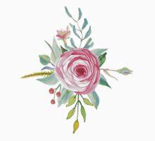 Romantic Pink Watercolor Flower Bouquet One Piece - Short Sleeve