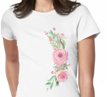 Pink Watercolor Flower Bouquet Womens Fitted T-Shirt