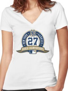 New York Yankees World Championships Women's Fitted V-Neck T-Shirt