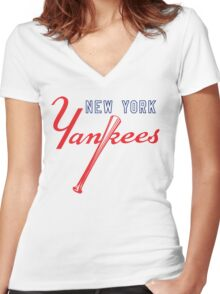 New York Yankees Old Logo Women's Fitted V-Neck T-Shirt