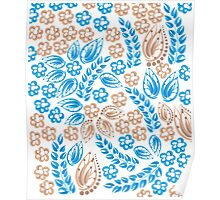 Blue - flowers - white Poster