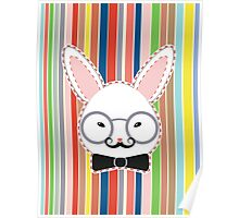 Rabbit Head with Glasses Poster