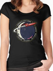 Journey Into Space - Operation Luna Mission Patch - Distressed Women's Fitted Scoop T-Shirt