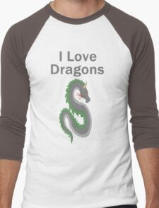I Love Dragons - Dragon Design - (Designs4You) - Chinese Dragon Men's Baseball ¾ T-Shirt