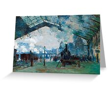 1877-Claude Monet-Arrival of the Normandy Train, Gare Saint-Lazare-59 x 80 Greeting Card