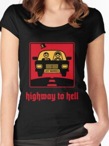Just Married _ Highway To Hell (3C) Women's Fitted Scoop T-Shirt