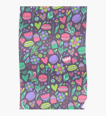 Macarons and flowers Poster