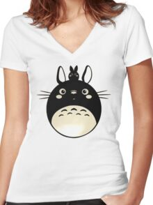 Totoro My Neighbour Women's Fitted V-Neck T-Shirt