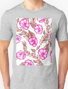 Modern hand painted pink brown watercolor floral  T-Shirt