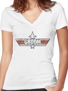 Top Gun Style Bachelor / Stag Party Shirt (Groom) Women's Fitted V-Neck T-Shirt