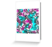Bright pink teal floral sea paisley doodles Greeting Card