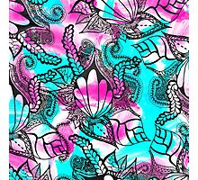 Bright pink teal floral sea paisley doodles Photographic Print