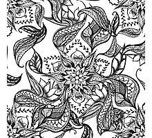 Modern black and white floral mandala illustration Photographic Print