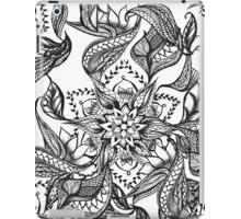 Modern black and white floral mandala illustration iPad Case/Skin