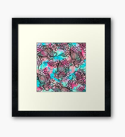 Modern floral watercolor hand drawn fall trend Framed Print