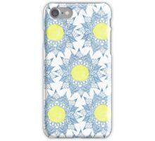 Boho blue henna mandala yellow sun pattern iPhone Case/Skin